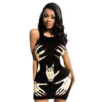 Finger Print Dresses For Women Fashion Trend Sleeveness Crew Neck Pattern Short Skirts Designer Summer Female Casual Nightclub Club Dress