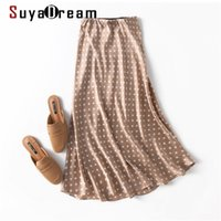 Suyadream 100% Silk Satin Meerjungfrau Rock Frau Frühling Sommer Punkte Long S Khaki Elegante Chic 210629