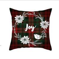 크리스마스 베개 커버 빨간색 격자 무늬 엘크 던져 베개 케이스 스퀘어 소파 베개 체크 무늬 인쇄 소파 쿠션 커버 크리스마스 DWE8649