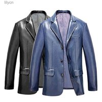 2020 Autumn New Suit Pu Leather Men's Jackets Slim Casual Male Fashion Turn Down Collar Coats Single Breasted Young Jackets