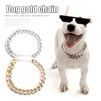 Pet Dog Adjustable Chain Collar Punk Gold Plated Puppy Cat Safety Not Rust Necklace HG99 Collars & Leashes