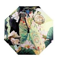Três dobrável pintura de arte paraguas mulheres parossais impermeáveis guarda-chuvas chinês ttraditonal gril lillustration sunny guarda-chuva 210320