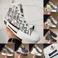 مع مربع Luxurys Designers Shoes أحدث أبيض منخفض أعلى حذاء الطباعة شفافة الفاخرة السيدات عالية أعلى أحذية رياضية قماش الرجال والنساء الأحذية عارضة الحجم