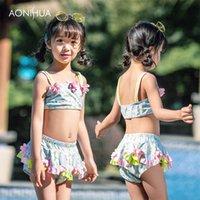 Aonihua dos piezas traje de baño flor decorar dulce niña lote traje de natación playa jugar chidrés niñas por 2-12 años q0220