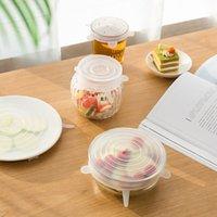 Six Set Universal Kitchen Tools Strumenti di aspirazione in silicone Silicone-ciotola Pan Cucinarie Pot Pot Lid-Silicio Coperchio Stretch Stretch Copertura per la copertura della frutta