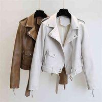 Ftlzz Spring Autumn Women Faux Leather Jacket Slim Streetwear Khaki Coat Biker Moto with Belt Female Outerwear 210915