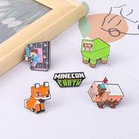 Creative Design Game Minecraft Brooch Cartoon Cute Enamel Pins Letter Building Block Peripheral Badge Female Gender Lapel Pin Fashion Jewelry Gift