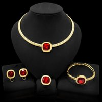 Yulaili Latest Design Dubai Gold Plated Necklace Jewelry Sets Factory Wholesale Women Fashion Ruby Stone Wedding Jewellery Set