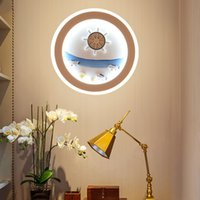 Cute Children's Room Wall Lamps Mediterranean Cartoon LED Lighting Marine Decorative Wall Lights Bedroom Background Lamp Channel Round Bedside Light Fixtures