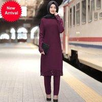 Наряды Siskakia для женщин 2 кусок наборов Уровень сельских толще и брюки Мусульманская Турция Дубай Исламская простая сторона Сплит сгорание Брюки SetVW9B