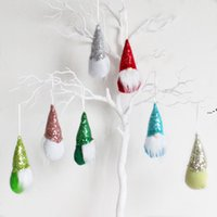 Christmas Pendant Hanging Knitted Sequins Faceless Baby Doll Dwarf Ornaments Decorations Knitting Manual Colorful Cloth Plastic NHF8981