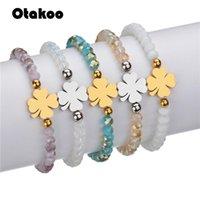 Braccialetti di fascino Otakoo Bead Argento oro in acciaio inox gioielli moda lady ragazza trifoglio braccialetto da polso per le donne