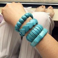 Beaded, Strands Luokey Vintage Bohemian Stone Bracelets Bangles For Women Elastic Adjustable Heart Beads Bracelet Ladies Wedding Fashion Jew