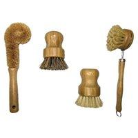 Car Washer Plant Based Cleaning Brush Set,Bamboo Kitchen Scrub Set Of 4 Clean Tableware   Can Bottle Pot Frying Pan Veg