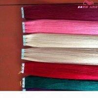 Adhesivo de doble cara Pink Tape Extensiones de cabello Indio recto Cinta coloreada Extensiones de cabello Cinta del cabello humano en extensiones DHL gratis