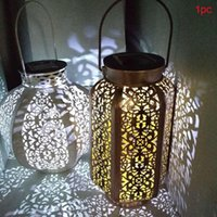 Retro Garden Solar Lamp Outdoor Lighting Waterproof Hollowed Out Shadow Lantern Ironart Hanging Landscape Lawn Lamps