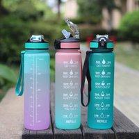Tragbare Fitness-Sport-Wasserflasche mit Skala und Stroh 1000ml Hüpferdeckel
