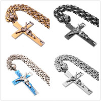 Hip-hop 316L Stainless Steel Cross Jesus Crucifix Men's Boy's Pendant Necklace Byzantine Chain 18-40inch High Quality Chains