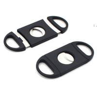 Cigar Cutter 90mm PocketSize Plastic Stainless Steel Double Blades Scissors Dry Herb Tobacco Accessories Tool Black Color BWF10501