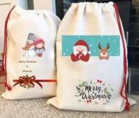 New Sublimation Blank Santa Sacks DIY Personalized Drawstring Bag Christmas Gift Bags Pocket Heat Transfer DHL Fast Ship