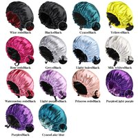 Big Reversible Satin Bonnet Double Layer Adjustable Size Sleep Night Cap Head Cover Bonnet Hat for For Curly Springy Hair Black