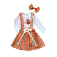 Infant Clothing Sets Girls Outfits Baby Clothes Children Kids Suits Spring Autumn Thanksgiving Letter Romper Jumpsuit Strap Skirt Headbands 3Pcs B7482