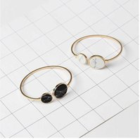 Boho Faux Marble Bangle Bracelet for Women Cute Round Triangle Copper Channel Setting Fashion Hand Jewelry Pulseras