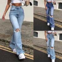 Fashion Women Button High Waist Pocket Elastic Hole Mom Jeans Trousers Loose Streetwear Straight Denim Pants