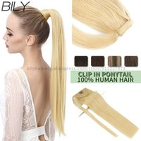 """BILY Long Straight Wrap Around Clip In Extensions For Women 100% Remy Human Magic Tape Blond Ponytail Hair 12""""-24"""""""