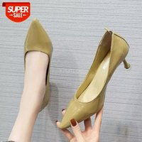 Kadın topuklu kadın ayakkabı marka ofis bayanlar çalışma katı sivri burun elbise ilkbahar sonbahar artı boyutu 34-39 # mr4o