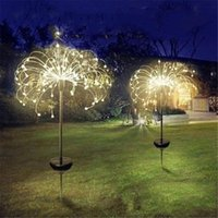 Solar Powered Outdoor Grass Globe Dandelion Fireworks Lamp Flash String 90  120 150 LED For Garden Lawn Landscape Holiday Light