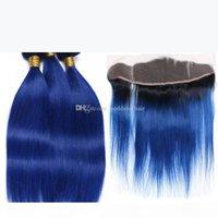 Brasilianische seidige glatte Haare webt mit spitze frontal ombre color # 1b blaues Ohr zum Ohr voller Spitzenverschluss mit Haarbündeln 4pcs los