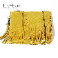 Lilyhood 2021 bolsa de ombro de couro genuíno para mulheres moda feminino verão pequeno camurça borla franja corrente amarela mão sacos