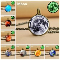 Pendant Necklaces Glow In The Dark Planet Necklace Solar System Moon Earth Glass Cabochon Universe Space Jewelry