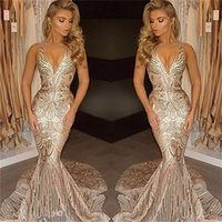 2017 Luxury Dubai Gold Evening Dresses Mermaid V Neck Sexy African Prom Gowns Vestidos Special Occasion Dresses Evening Wear