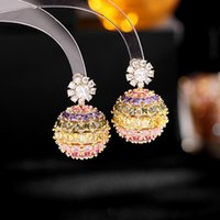 Luxury Sparkling Micro-Inlaid Purple Pink Colorful Cubic Zirconia Flower Ball Stud Earrings For Women Jewelry Wedding Earings