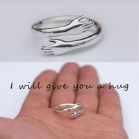 2021 Fashion 925 Sterling Silver Adjustable Ring I Will Give You a Hug Womens Love Ring Couple Jewey