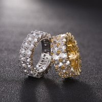 7-12 Gold Love Rings Micro Paved 2 Row Tennis Rings Zircon Hip Hop Silver Plated Finger Ring for Men Women