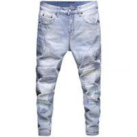 Trou Zipper Poches Pantalons lavés à la cheville Men et femmes Casual Baggy Denim Pantalon
