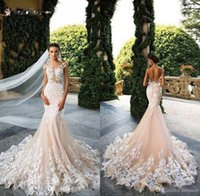 2021 Bröllopsklänningar Mermaid Sexy Sheer Neck Cap Sleeve Lace Appliques Bodicese Sweep Train Bridal Gowns Vestios De Novia