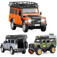132 128 Land-Rover Defender SUV يموت الصرفة سبائك السيارات نموذج الصوت والضوء العودة الأطفال لعبة مجموعة