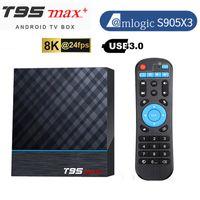 T95 Max Artı 8 K TV Kutusu Amlogic S905X3 Android 9.0 TVBOX 4 GB 64 GB Çift Wifi 3D HDR Media Palyer Ev Film Airplay DLNA oyunu Smart STB