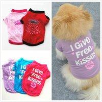 Pet Filhote De Cão De Cão De Cão Impressão Guarda-chuva Amor Verão Animais de Estimação Camisas Pequenas Cães Roupas Veste T-shirt OWB9147