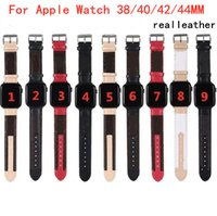 Luxury Designer Real Leather strap for Apple Watch Band 38MM 40MM 42MM 44MM iwatch bands Trendy Replacement Watchbands Bracelet Fashion Stri
