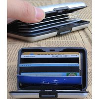 Card Holders Waterproof Wallets For Men Aluminum Metal Case Box Business ID Name Holder Silver Coin Purses -OPK