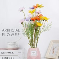 Decorative Flowers & Wreaths 6 Heads Artificial Wedding Bridal Home Decor Fake Daisy Bunch Bouquet Decoration Silk Flower Plants