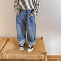 Jeans 2021 Arrival Autumn Children Fashion Casual Denim Pants Boys Girls Straight And Loose 1-7Y