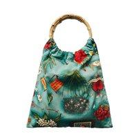 국가 민족 줄무늬 캔버스 코튼 어깨 토트 가방 열대 잎 꽃 선인장 인쇄 여성 핸드백 빈티지 대나무 가방 C0326