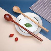 Piano in legno massello giapponese manico lungo cucchiaino domestico stoviglie di grande lacca minestra cucchiaio preparato caffè mescolando cucchiai t2i52740