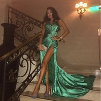 Long Sexy Green Prom Dresses High Slit Shiny Pleat Satin Formal Dress Plus Size Party Gowns Robe De Soiree Customize Evening Dress